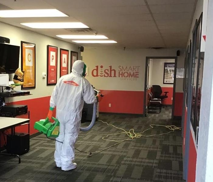 SERVPRO technician misting DISH NETWORK office