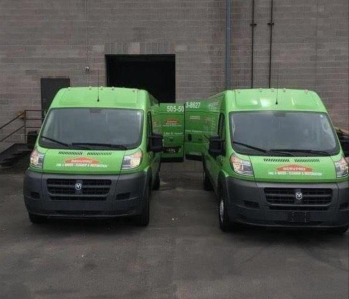 SERVPRO Vans getting ready to head out.
